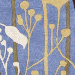 Safavieh Handmade New Zealand Wool Gardens Blue Rug (2' x 3') - Thumbnail 2