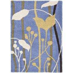 Safavieh Handmade New Zealand Wool Gardens Blue Rug (2' x 3')