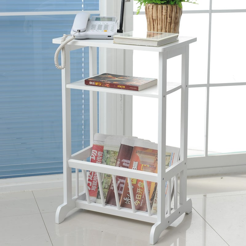 White Telephone End Table Magazine Stand