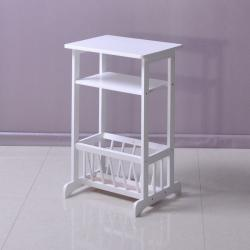 ... White Telephone End Table Magazine Stand