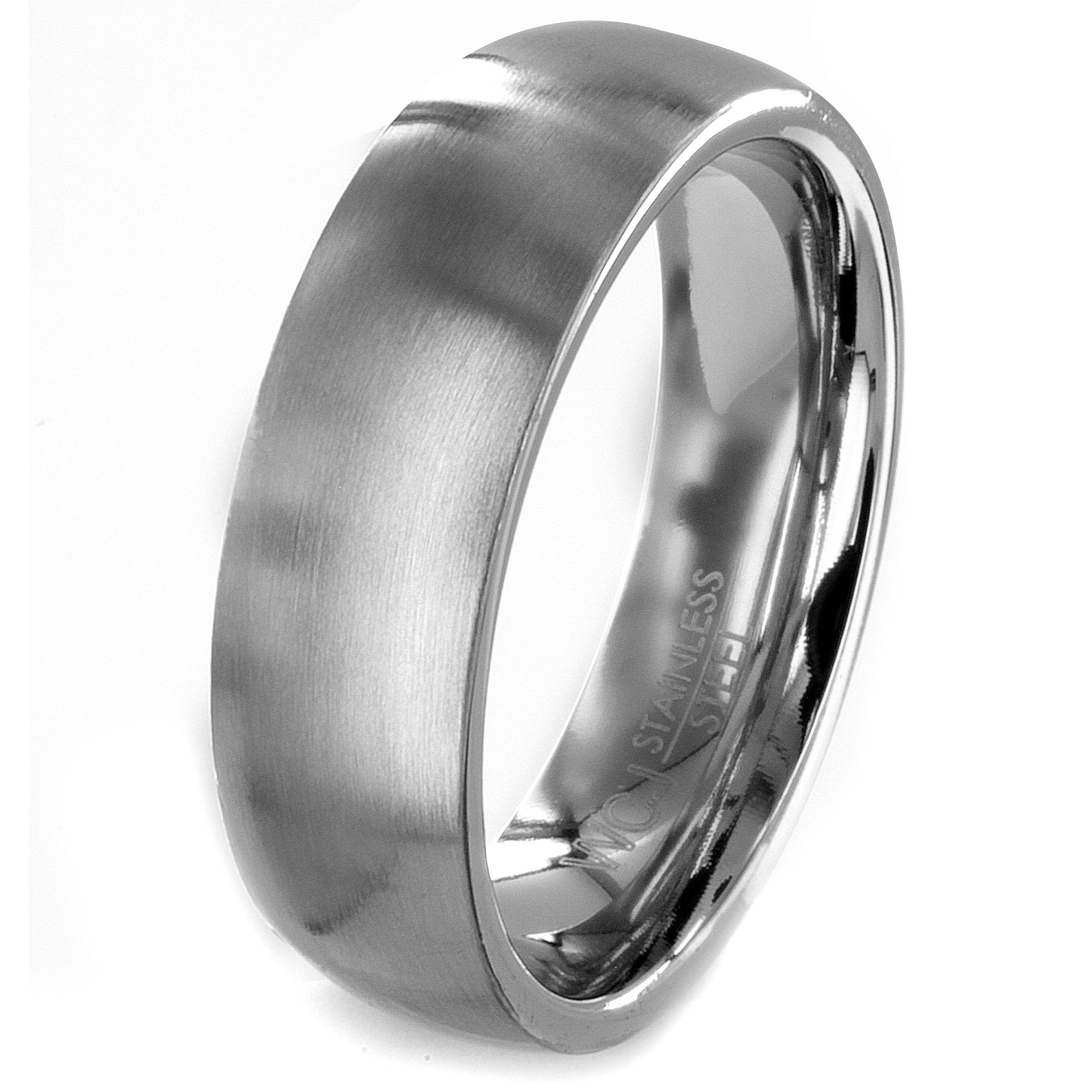 Stainless Steel Brushed Men's Wedding Band - Thumbnail 0