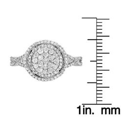 14k White Gold 7/8ct TDW White Diamond Halo Ring (G, SI1-SI2) - Thumbnail 2