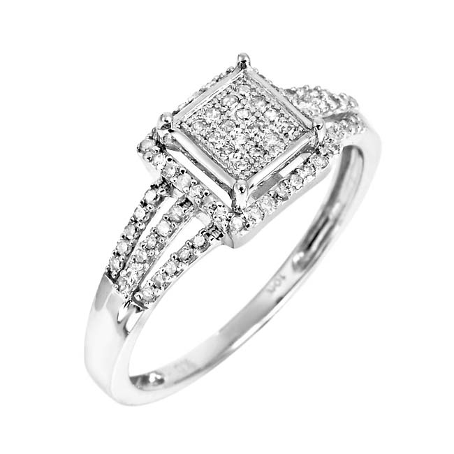 10k White Gold 1/4ct TDW White Diamond Ring (H, I1-I2)(Size 7)