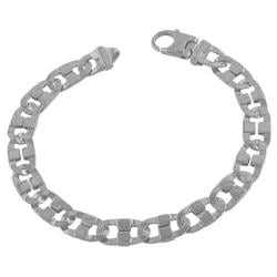 Fremada Rhodiumplated Sterling Silver Men's 9-mm Fancy Mariner Link Bracelet