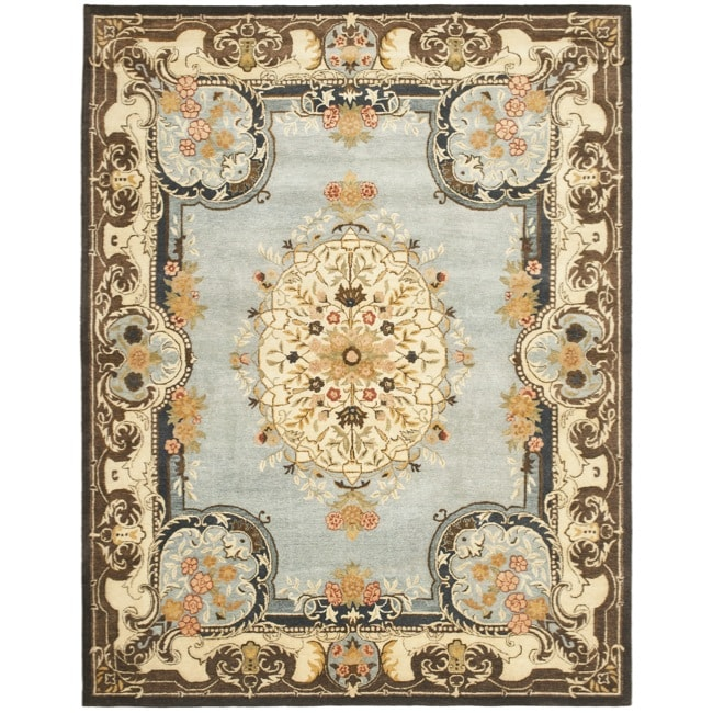 Safavieh Handmade Bliss Light Blue/ Ivory Hand-spun Wool Rug - 8' x 10'