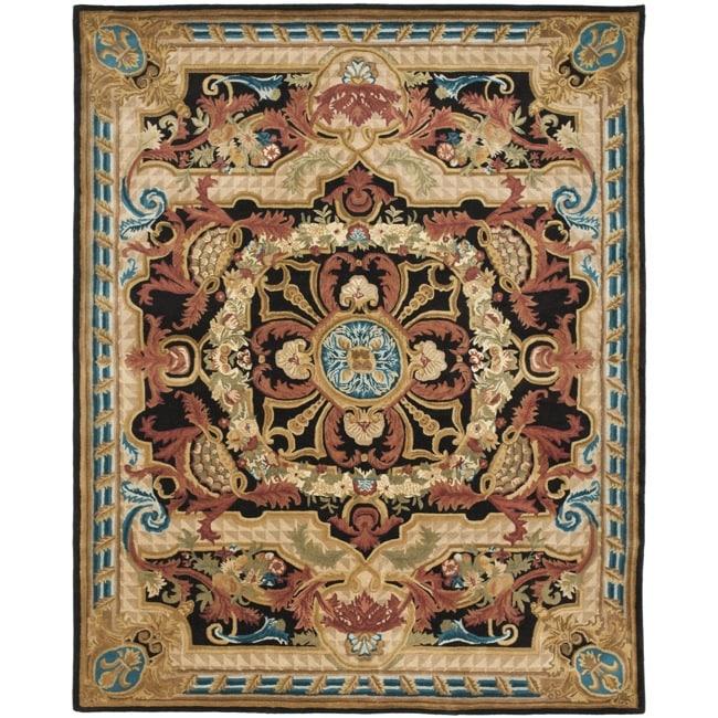 Safavieh Handmade Aubusson Cheron Black/ Blue Wool Rug (8' x 10')