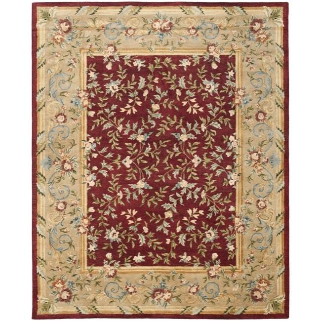 Safavieh Handmade Gardens Red/ Dark Beige Hand-spun Wool Rug - 8' x 10'