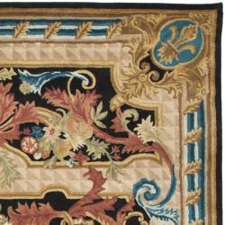 Safavieh Handmade Aubusson Cheron Black/ Blue Wool Rug (8' x 10') - Thumbnail 1