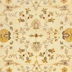 Safavieh Handmade Farahan Ivory/ Light Grey Hand-spun Wool Rug (8' x 10') - Thumbnail 2
