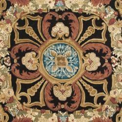 Safavieh Handmade Aubusson Cheron Black/ Blue Wool Rug (8' x 10') - Thumbnail 2