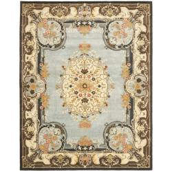 Safavieh Handmade Bliss Light Blue/ Ivory Hand-spun Wool Rug - 8' x 10' - Thumbnail 0
