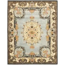 Safavieh Handmade Bliss Light Blue/ Ivory Hand-spun Wool Rug (9' x 12')