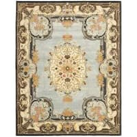 Safavieh Handmade Bliss Light Blue/ Ivory Hand-spun Wool Rug - 9' x 12'