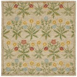 Safavieh Handmade Blossom Beige Wool Rug (6' Square)