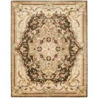 Safavieh Handmade Aubusson Creteil Brown/ Beige Wool Rug - 9'6 x 13'6