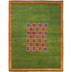 Safavieh Hand-knotted Gabeh Fields Green Wool Rug (6' x 9')