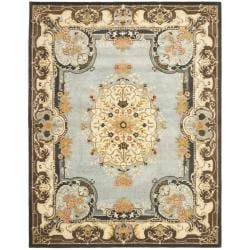 Safavieh Handmade Bliss Light Blue/ Ivory Hand-spun Wool Rug (9'6 x 13'6) - Thumbnail 0