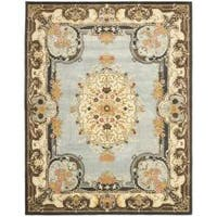 Safavieh Handmade Bliss Light Blue/ Ivory Hand-spun Wool Rug - 9'6 x 13'6