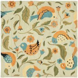 Safavieh Handmade Blossom Swallow Sage Wool Rug (6' Square)
