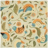 Safavieh Handmade Blossom Swallow Sage Wool Rug (6' Square) - 6' Square