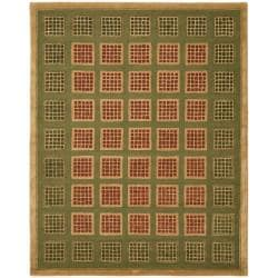 Safavieh Handmade New Zealand Wool Blocks Green Rug - 9' x 12' - Thumbnail 0