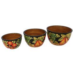 Casa Cortes Barcelona Collection Hand-Painted Serving Bowl Set (3 Pieces)