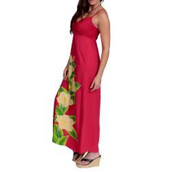 Women's Hot Pink V-Neck Long Floral Dress (Indonesia)