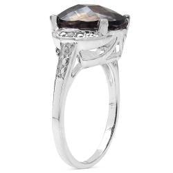 Malaika Sterling Silver Smoky Quartz/ White Topaz 4.22ct TGW Ring - Thumbnail 1