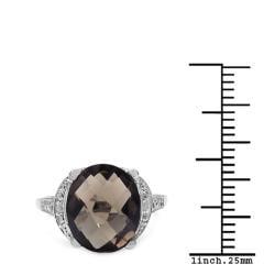 Malaika Sterling Silver Smoky Quartz/ White Topaz 4.22ct TGW Ring - Thumbnail 2