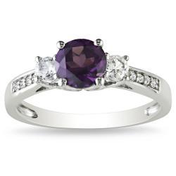 Miadora 10k White Multi-Gemstones and Diamond Accent Ring (1 1/3ct TGW)
