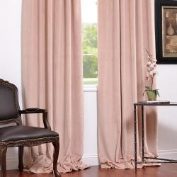 Exclusive Fabrics Signature Rose Petal Velvet Blackout 96-Inch Curtain Panel - Thumbnail 1