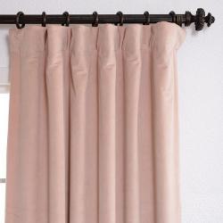 Exclusive Fabrics Signature Rose Petal Velvet Blackout 96-Inch Curtain Panel - Thumbnail 2