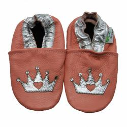 Silver Crown Soft Sole Leather Baby Shoes
