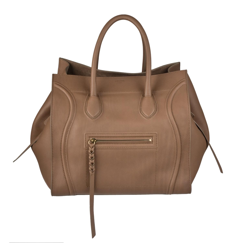 Celine Square Leather Luggage Tote Handbag