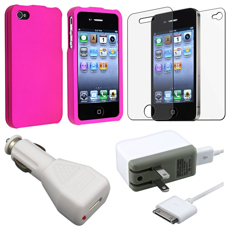 Pink Case/ Screen Protector/ Charger/ Cable for Apple iPhone 4S