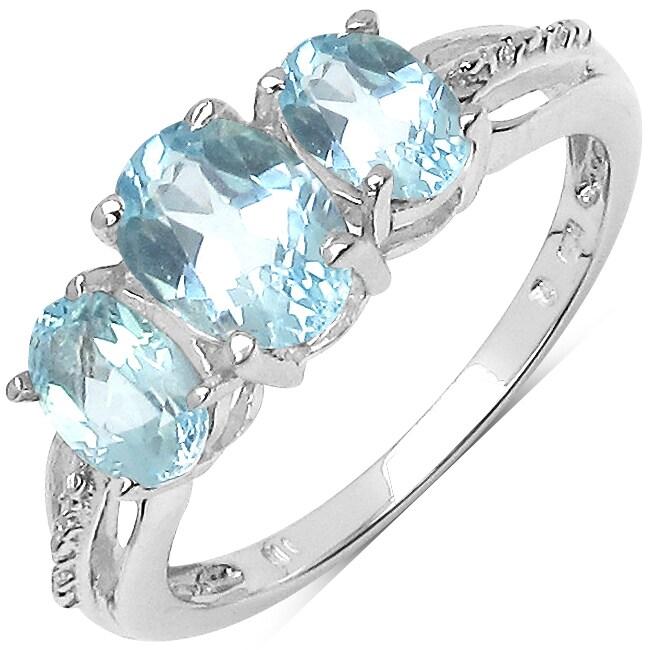 Malaika Sterling Silver Blue Topaz Ring