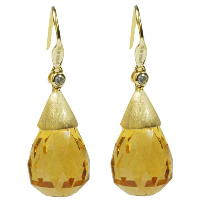 De Buman 18k Yellow Gold Citrine and Diamond Accent Earrings