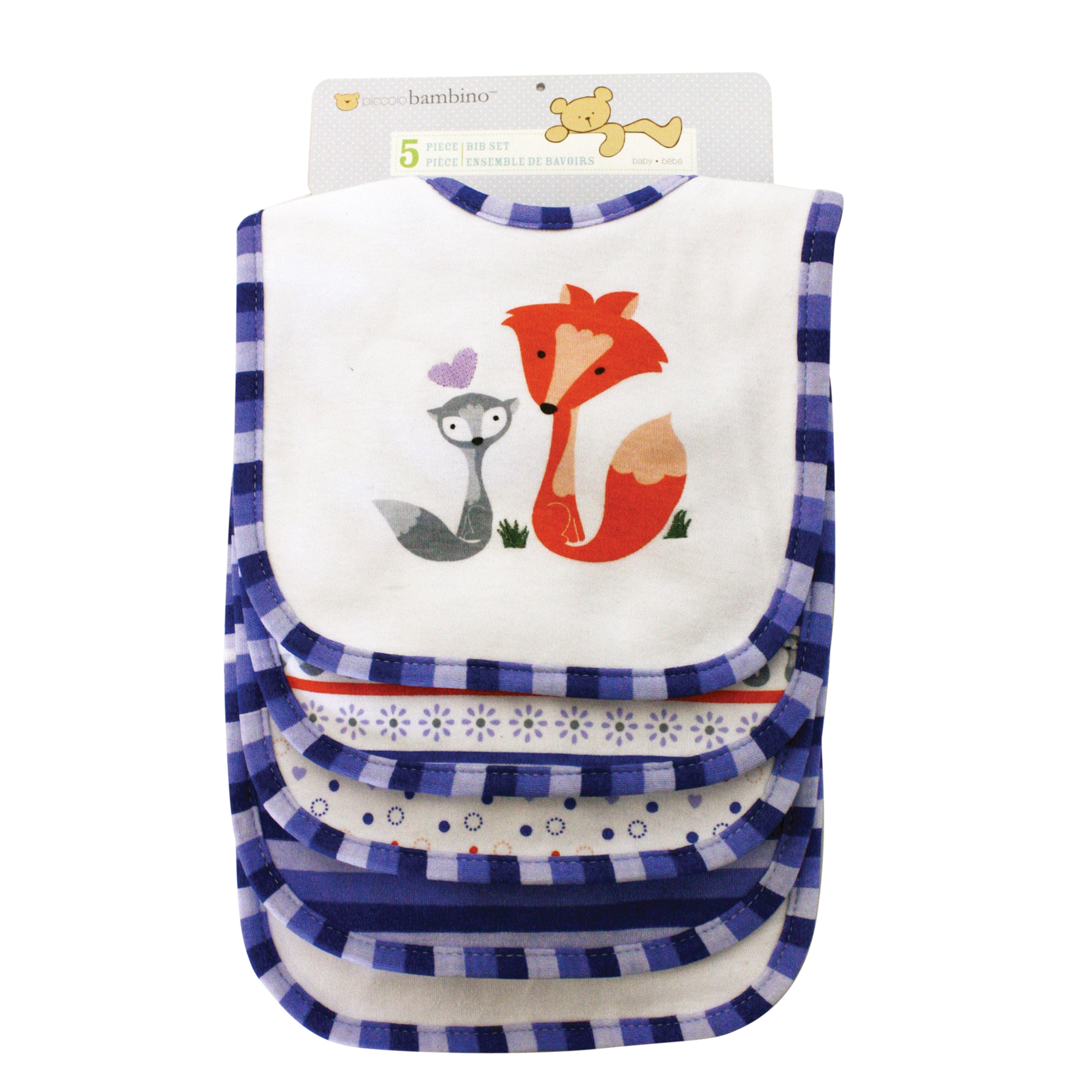 Piccolo Bambino Blue Cotton Bibs (Set of 5)