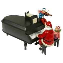 Pianoman Santa Red and Black Musical Figurine