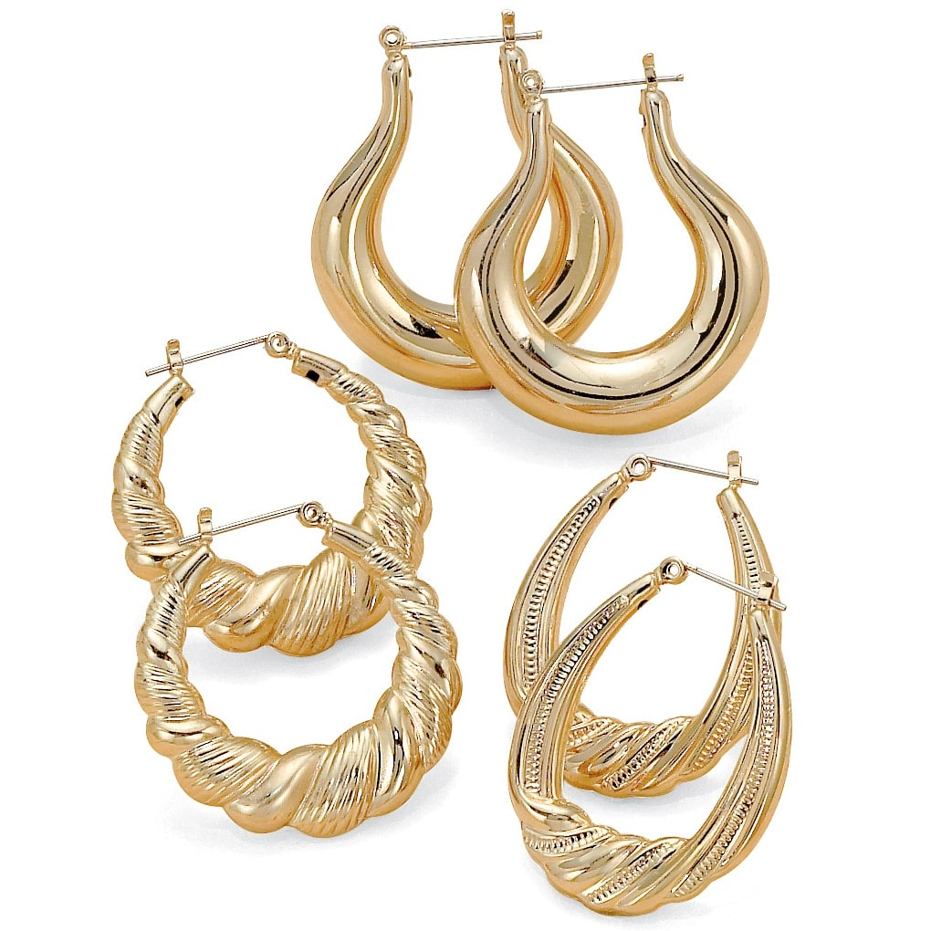 Toscana Collection Goldtone Hoop Earrings (Set of 3)