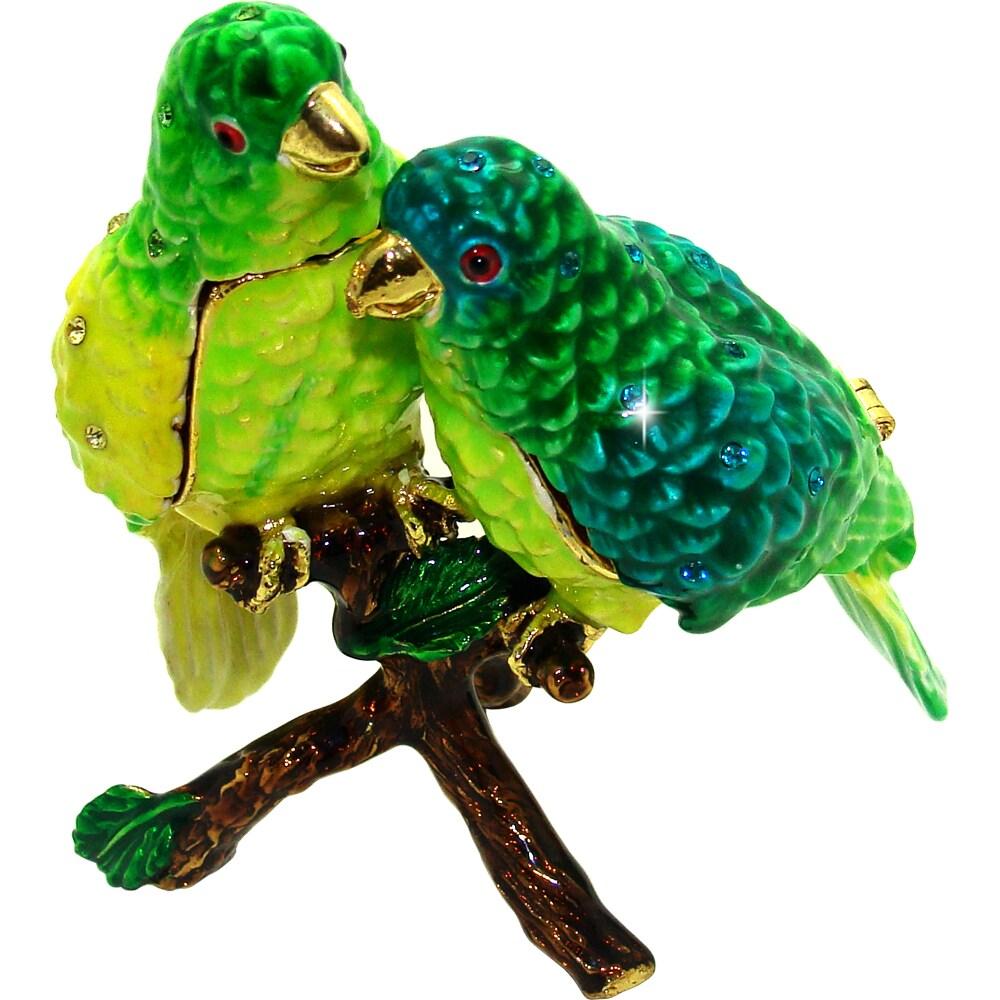 Objet d'Art 'Parakeet Pals' Two Birds in a Tree Trinket Box
