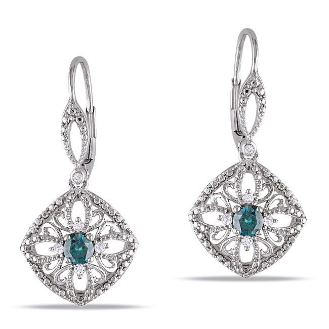 Miadora 10k White Gold 1/2ct TDW Blue and White Diamond Dangle Earrings