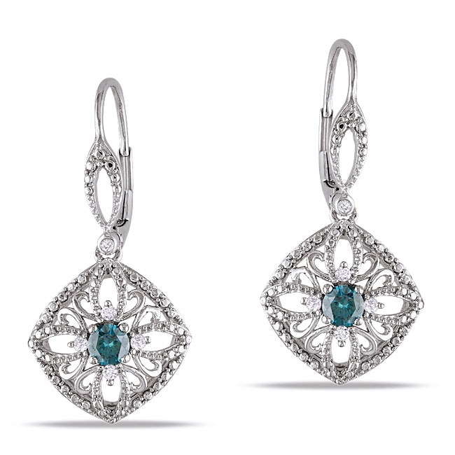 Miadora 10k White Gold 1/2ct TDW Blue and White Diamond Dangle Earrings - Thumbnail 0