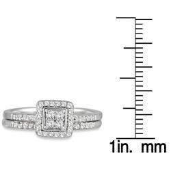 Marquee Jewels 10k White Gold 1/3ct TDW White Diamond Bridal Ring Set (I-J, I1-I2) - Thumbnail 2
