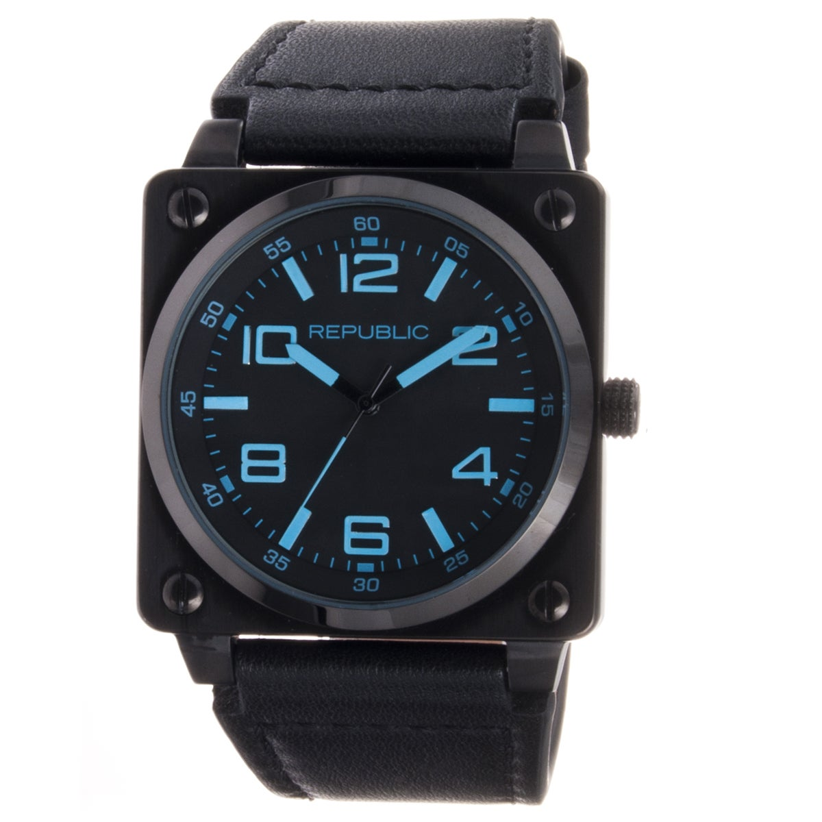 Republic Men's All Black Leather Strap Aviation Watch