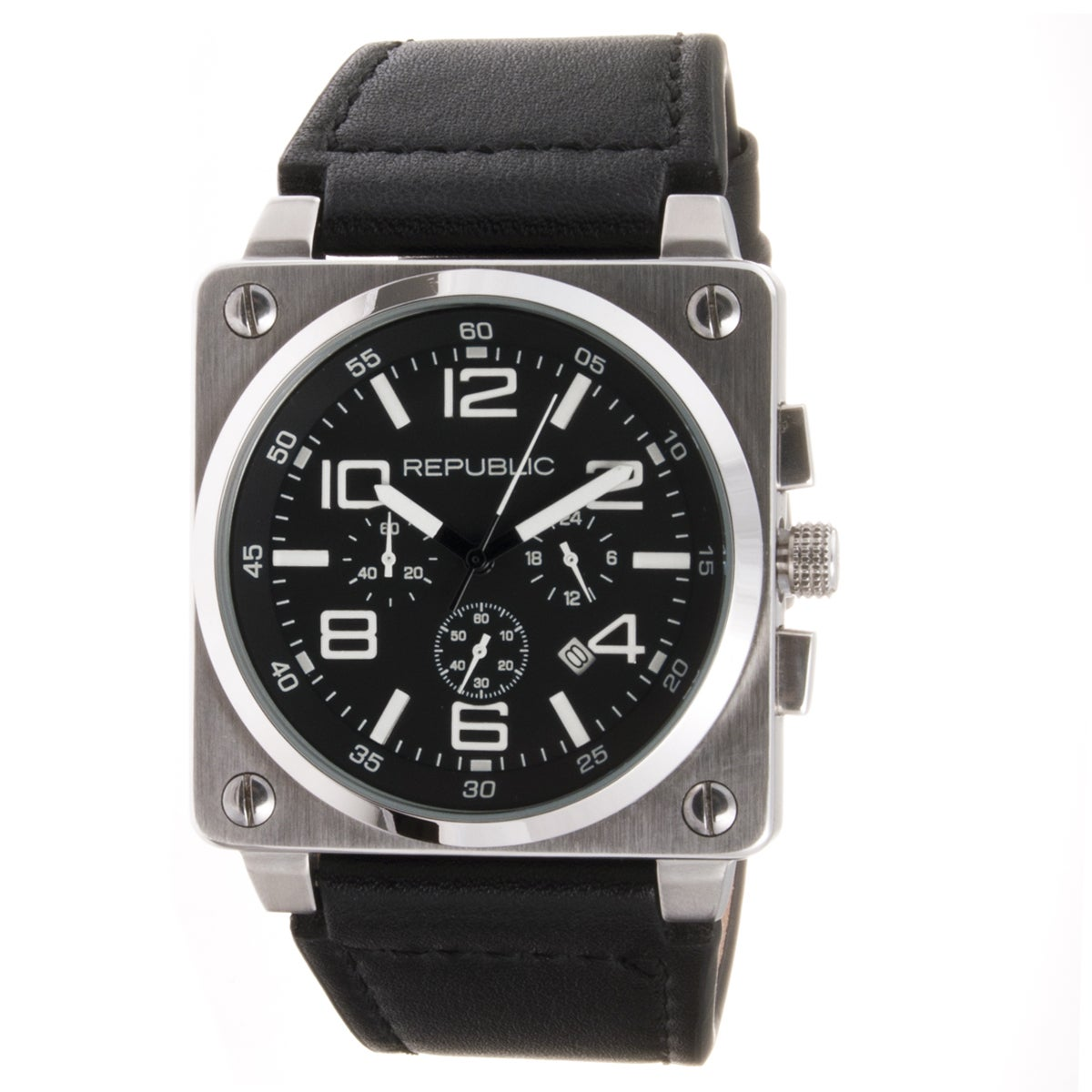 Republic Men's Black Leather Strap Chrono Aviation Watch