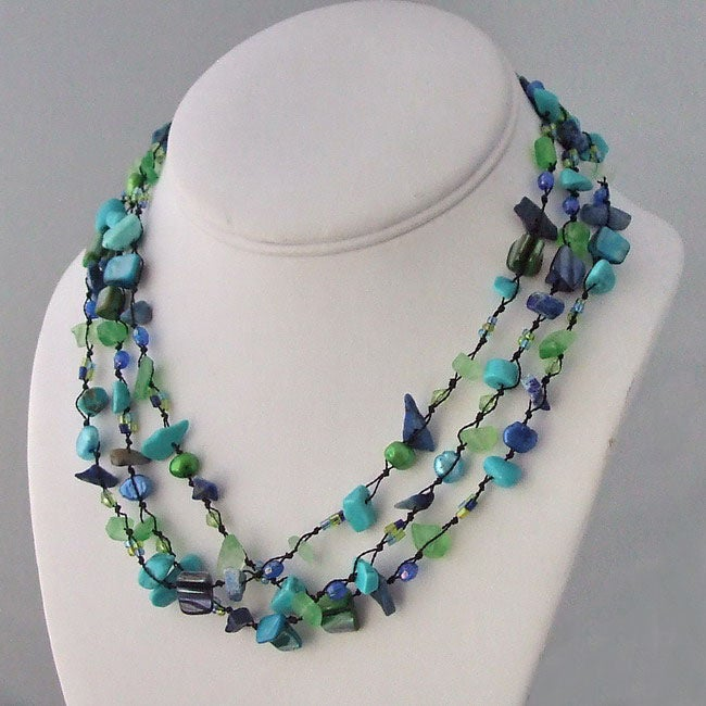 Cool Green Gemstone and Pear Three-Layer Cotton Necklace (6-9mm)(Thailand)