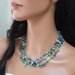 Cool Green Gemstone and Pear Three-Layer Cotton Necklace (6-9mm)(Thailand) - Thumbnail 1