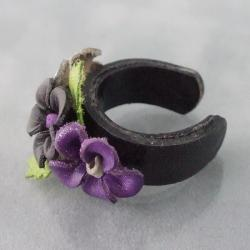 Black Floral Blossom Leather Ring (Thailand) - Thumbnail 1