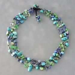 Cool Green Gemstone and Pear Three-Layer Cotton Necklace (6-9mm)(Thailand) - Thumbnail 2
